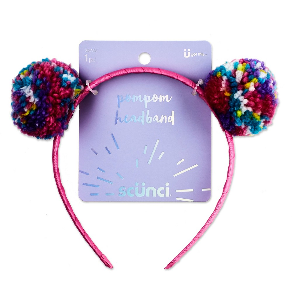Scunci Rainbow Yarn Pompom Headband - 1ct, Multi-Colored