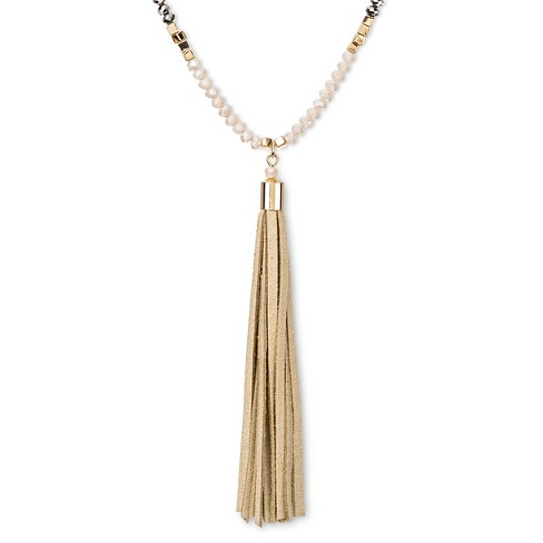"Women's Beaded Y Necklace with Faux Leather Tassel - White/Gold (32"") - image 1 of 2"