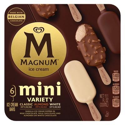 Magnum Classic/Almond/White Assorted Mini Ice Cream Bars- 6ct