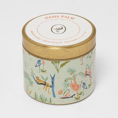 4oz Mini Patterned Tin Oasis Palm Candle - Opalhouse™