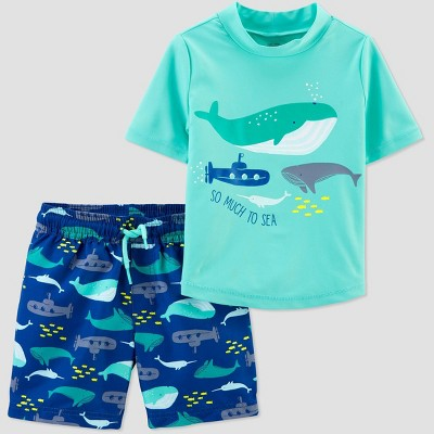 Baby Boys' Whales Swim Rash Guard Set - Just One You® made by carter's Blue 3M