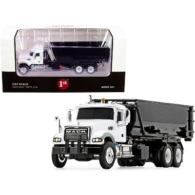Mack Granite with Tub-Style Roll-Off Container Dump Truck White and Black 1/87 Diecast Model by First Gear