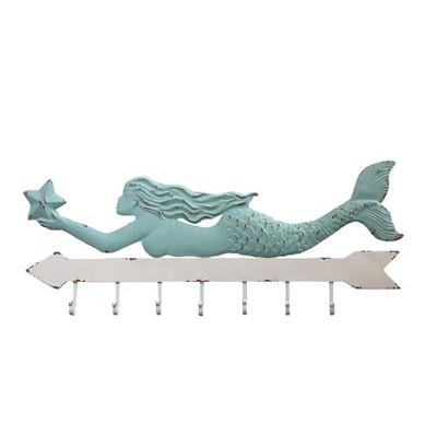 Metal Mermaid Wall Decor with 7 Hooks - 3R Studios