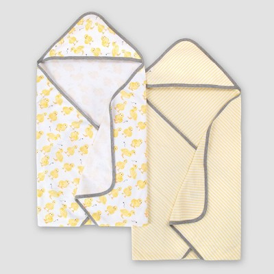 Burt's Bees Baby® Baby Girls' Set of 2 Little Ducks Hooded Towels - Yellow One Size