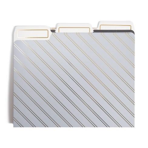 6ct Gold Striped File Folders - UBrands - image 1 of 3