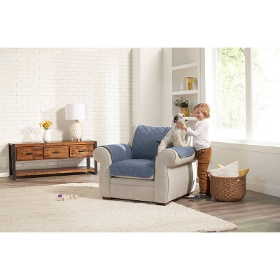 Reversible Chair Furniture Protector Blue/Cream - Sure Fit