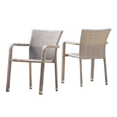 Dover 2pk Wicker Armed Stacking Chairs - Christopher Knight Home