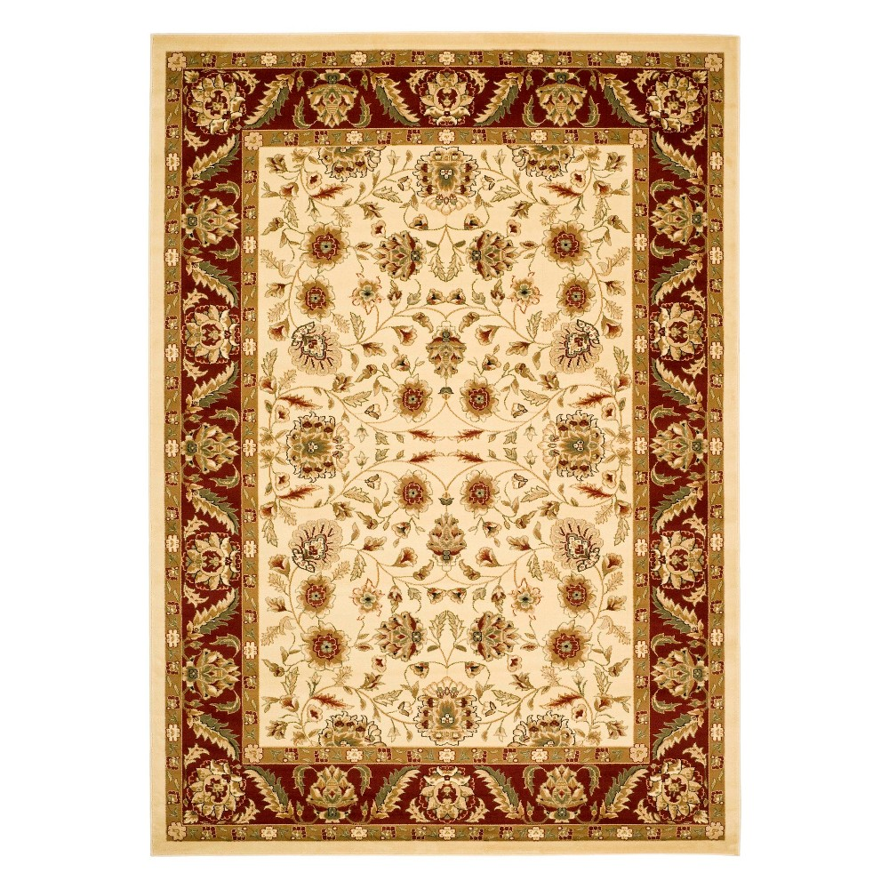 9'X12' Floral Loomed Area Rug Ivory/Red - Safavieh, White