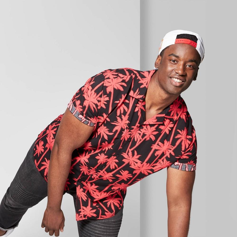 Men's Tall Printed Short Sleeve Resort Button-Down Shirt - Original Use Black Xlt