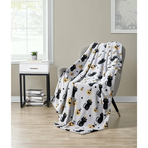 Kate Aurora Autumn Living Halloween Spooky Black Cats Pumpkins Purple Black Ultra Plush Throw Blanket Target