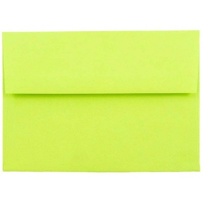 JAM Paper A6 Colored Invitation Envelopes 4.75 x 6.5 Ultra Lime Green 52610