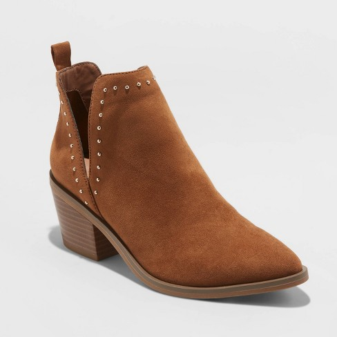 Women's Joann Faux Leather Studded V Cut Bootie - A New Day™ Cognac - image 1 of 3