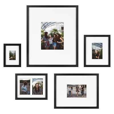 5pc Gallery Frame Box Set Transitional Black - Kate & Laurel All Things Decor