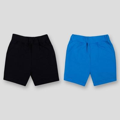 Lamaze Baby 2pk Organic Cotton Pull On Terry Shorts - Blue/Black 12M