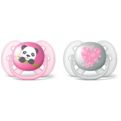 Philips Avent Ultra Soft Pacifier 6-18m - Panda/Heart - 2pk