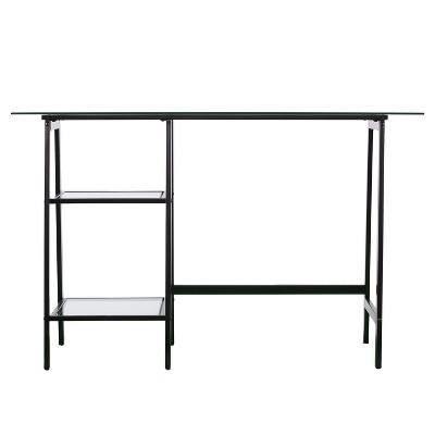 Beecher Metal/Glass Sawhorse/A Frame Writing Desk Black - Aiden Lane : Target