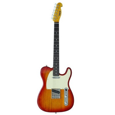Monoprice Retro DLX Plus Solid Ash Electric Guitar - Cherry Burst, With Gig Bag, Ash Body, Maple Neck, Professionally Set-up in the US - Indio Series