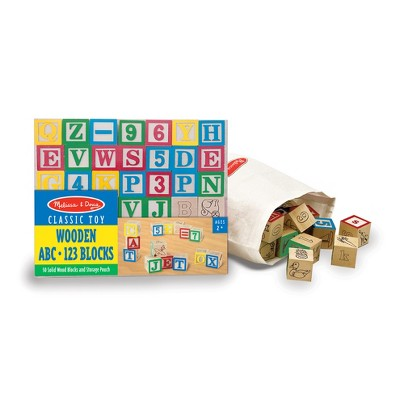 Melissa & Doug® Deluxe Wooden ABC/123 Blocks Set With Storage Pouch (50pc; colors may vary)