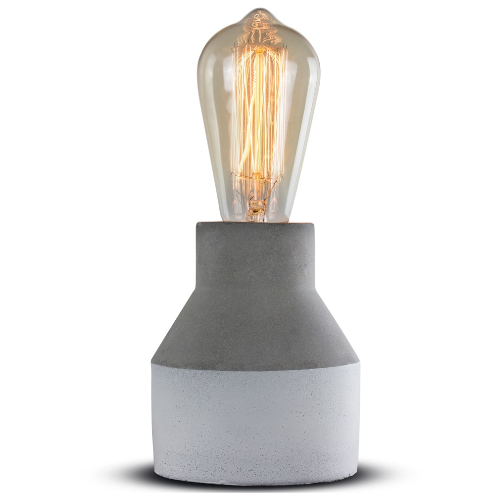 "Image of ""10.25"""" Two Tone Gray White Concrete Table Lamp - Crystal Art"""