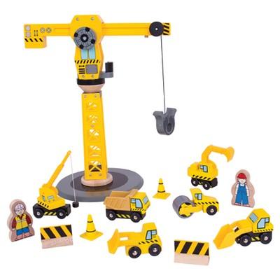Bigjigs Rail Big Crane Construction Set Wooden Railway Train Set Accessory