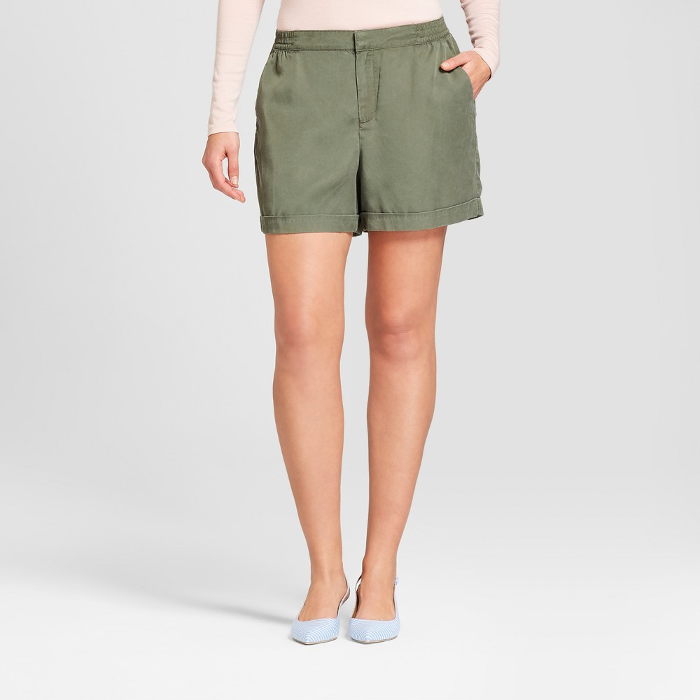 Women's Easy Waist Twill Shorts - A New Day Olive (Green) M