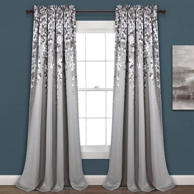 "Set of 2 (108""x52"") Weeping Flower Light Filtering Window Curtain Panels Gray - Lush Décor"