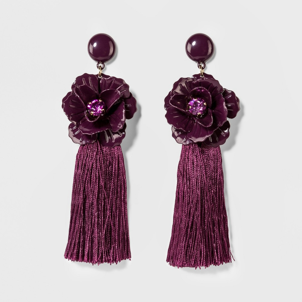 Sugarfix by BaubleBar Tassel Drop Earrings with Flowers - Deep Purple, Girl's