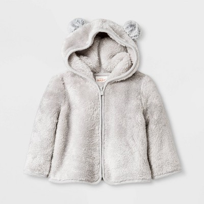 Baby Boys' Faux Fur Pom Ear Hoodie Cardigan - Cat & Jack™ Gray Newborn