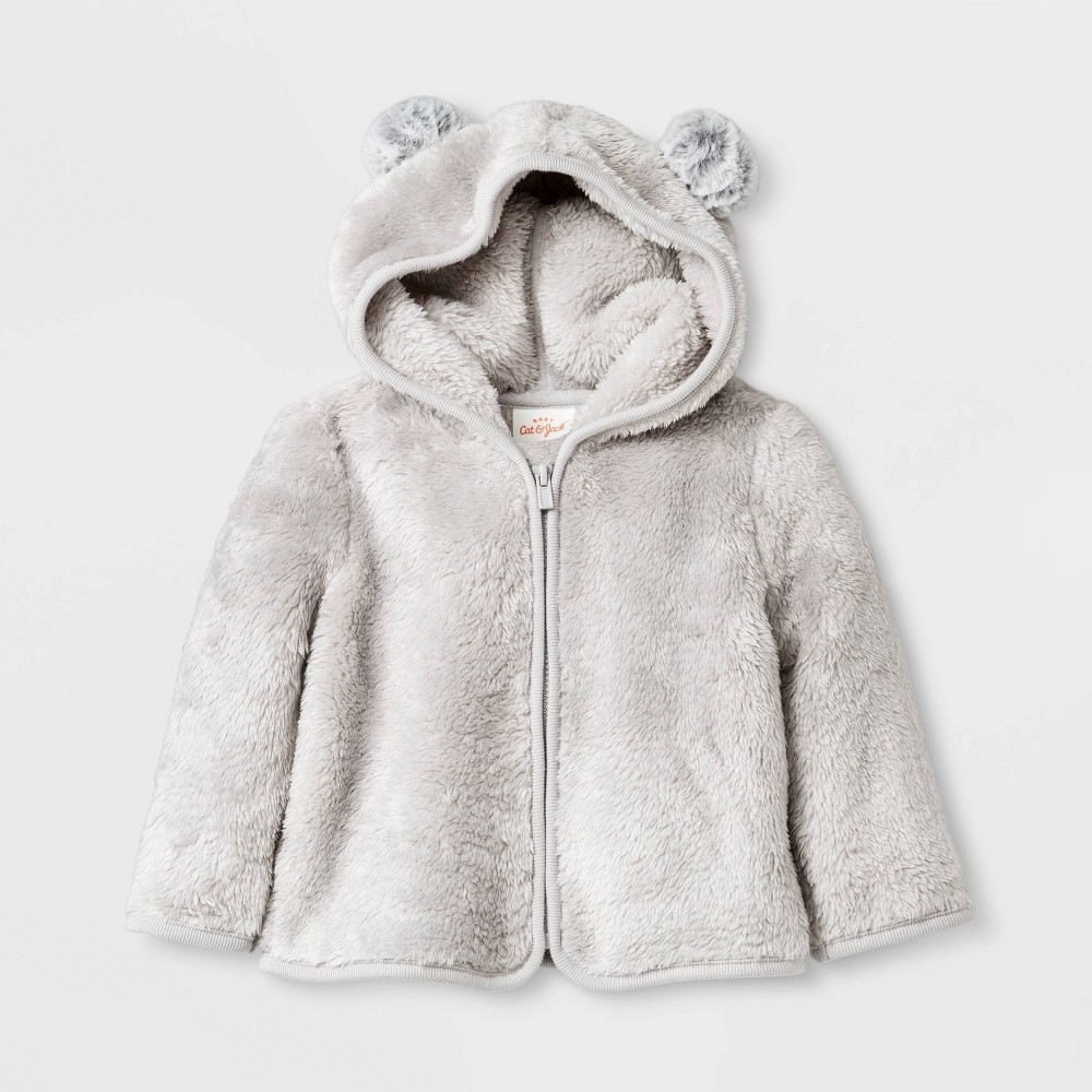 Image of Baby Boys' Faux Fur Pom Ear Hoodie Cardigan - Cat & Jack Gray 0-3M, Boy's