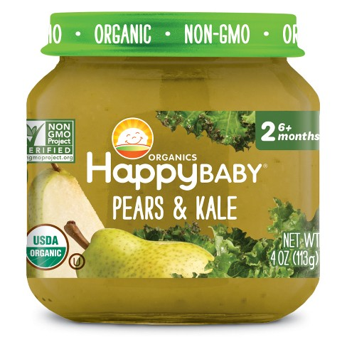 HappyBaby Fruit And Vegetable Snacks Pears & Kale Baby Food - 4oz - image 1 of 2