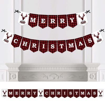 Big Dot of Happiness Prancing Plaid - Christmas Buffalo Plaid Bunting Banner - Lumberjack Party Decorations - Merry Christmas