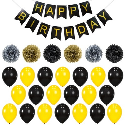 Best Choice Products Birthday Party Balloon Decor Set w/ Happy Birthday Banner, 6 Pom-Poms, 20 Balloons - Gold/Black