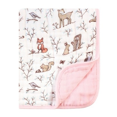 Hudson Baby Infant Boy Muslin Tranquility Quilt Blanket, Enchanted Forest, One Size