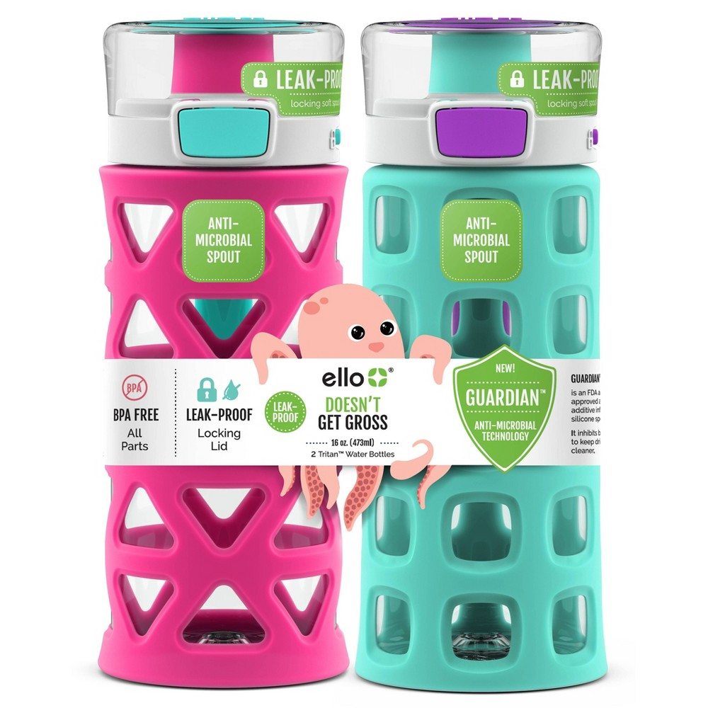 Image of 16oz 2pk Plastic Dash Water Bottles Green/Pink - Ello