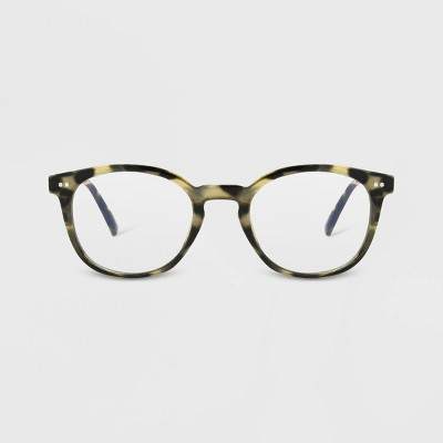 Women's Tortoise Shell Print Blue Light Filtering Round Glasses - A New Day™ Brown
