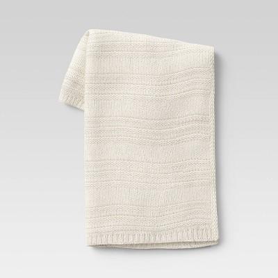 "50""x60"" Chunky Striped Knit Throw Blanket Cream - Threshold™"