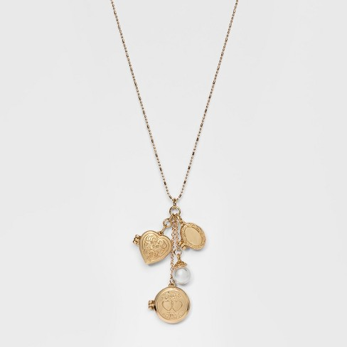 Ball Chain with Locket and Pearl Charm Pendant Necklace - Wild Fable™ Gold - image 1 of 2