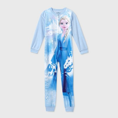 Girls' Frozen 2 'Fearless' Blanket Sleeper Union Suit - Blue