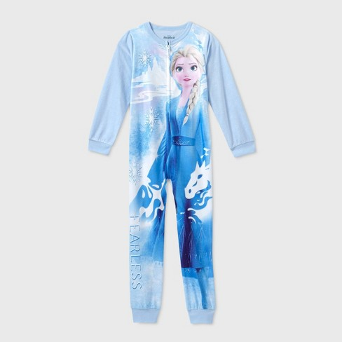 Girls' Frozen 2 'Fearless' Blanket Sleeper Union Suit - Blue : Target