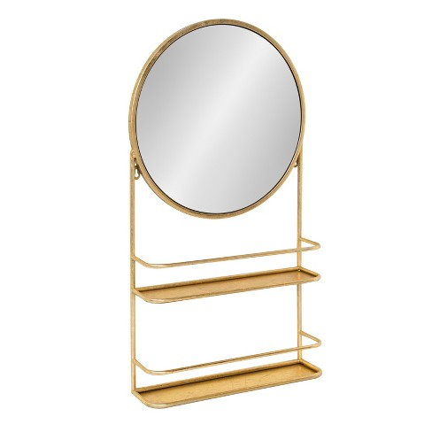 "Kate & Laurel 16""x31"" Coffey Mounted Metal Decorative Wall Mirror with Two Shelves Gold - image 1 of 4"
