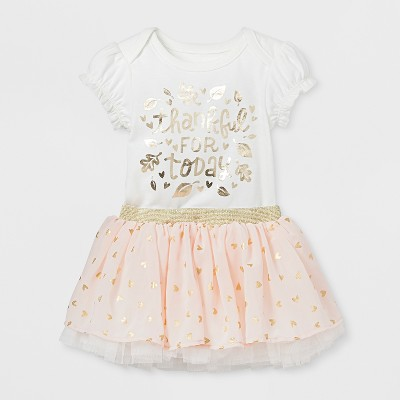 Baby Girls' 2pc Bodysuit and Tutu Skirt Set - Cat & Jack™ Almond Cream 0-3M