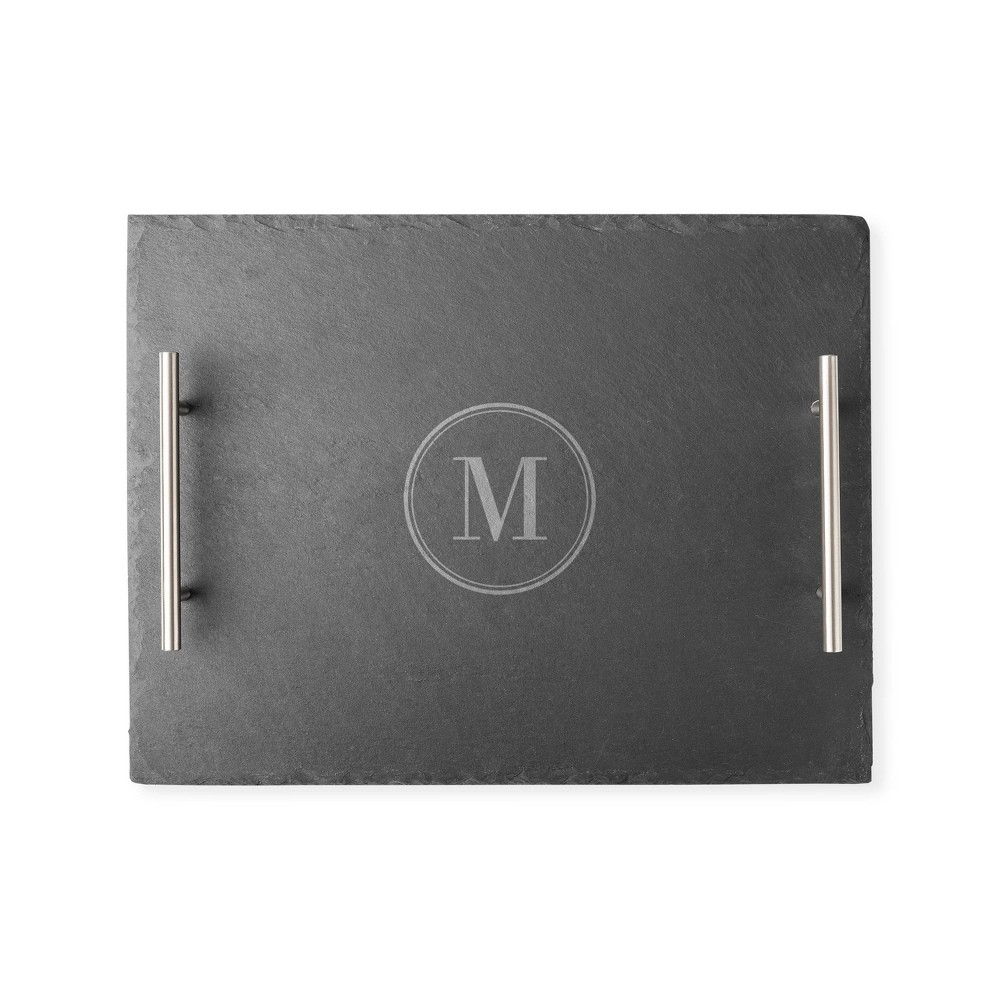 Cathy 39 S Concepts 11 8 34 X 15 8 34 Slate Personalized Serving Tray With Handles Letter M