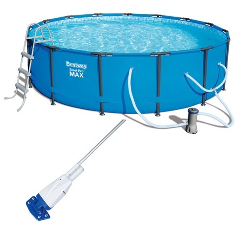 Bestway 15ft x 42in Steel Pro Max Round Frame Above Ground Pool and Vacuum - image 1 of 4