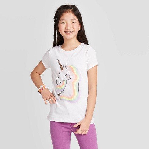 Girls' Short Sleeve Rainbow Unicorn Graphic T-Shirt - Cat & Jack™ White - image 1 of 4