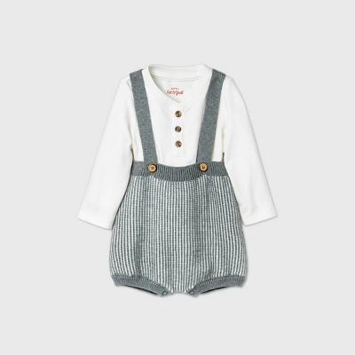 Baby Boys' Bloomer Sweater Romper Set - Cat & Jack™ Heather Gray 0-3M
