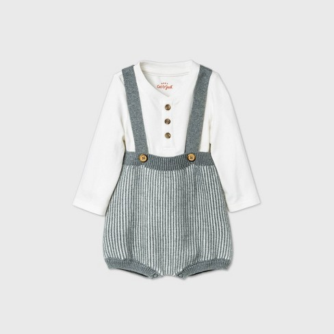 Baby Boys' Bloomer Sweater Romper Set - Cat & Jack™ Heather Gray - image 1 of 2
