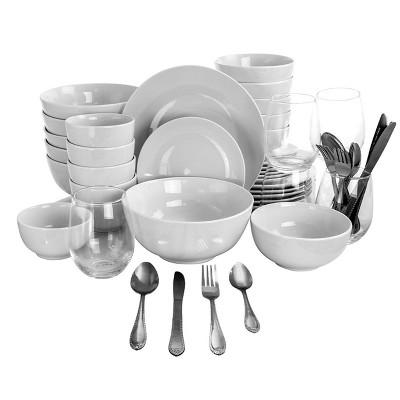Gibson All U Need 60 Piece Ceramic Dinnerware Combo Set with Drinkware and Flatware