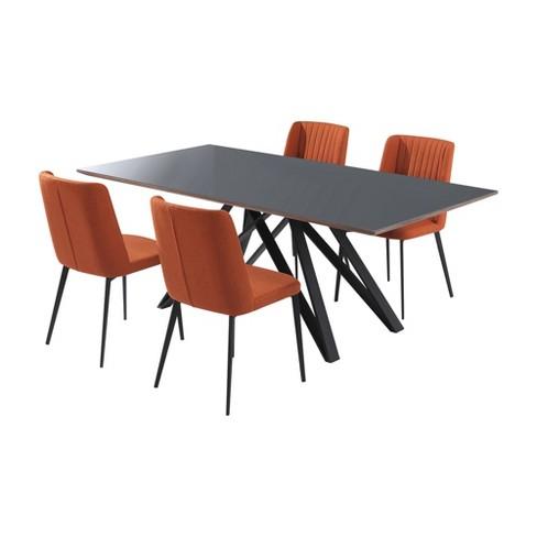 Homer Contemporary 5pc Metal Dining Set Matte Black Orange Modern Home