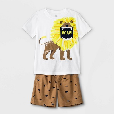 Toddler Boys' 2pc Lion Pocket Short Sleeve T-Shirt and Pull-On Shorts Set - Just One You® made by carter's White/Brown