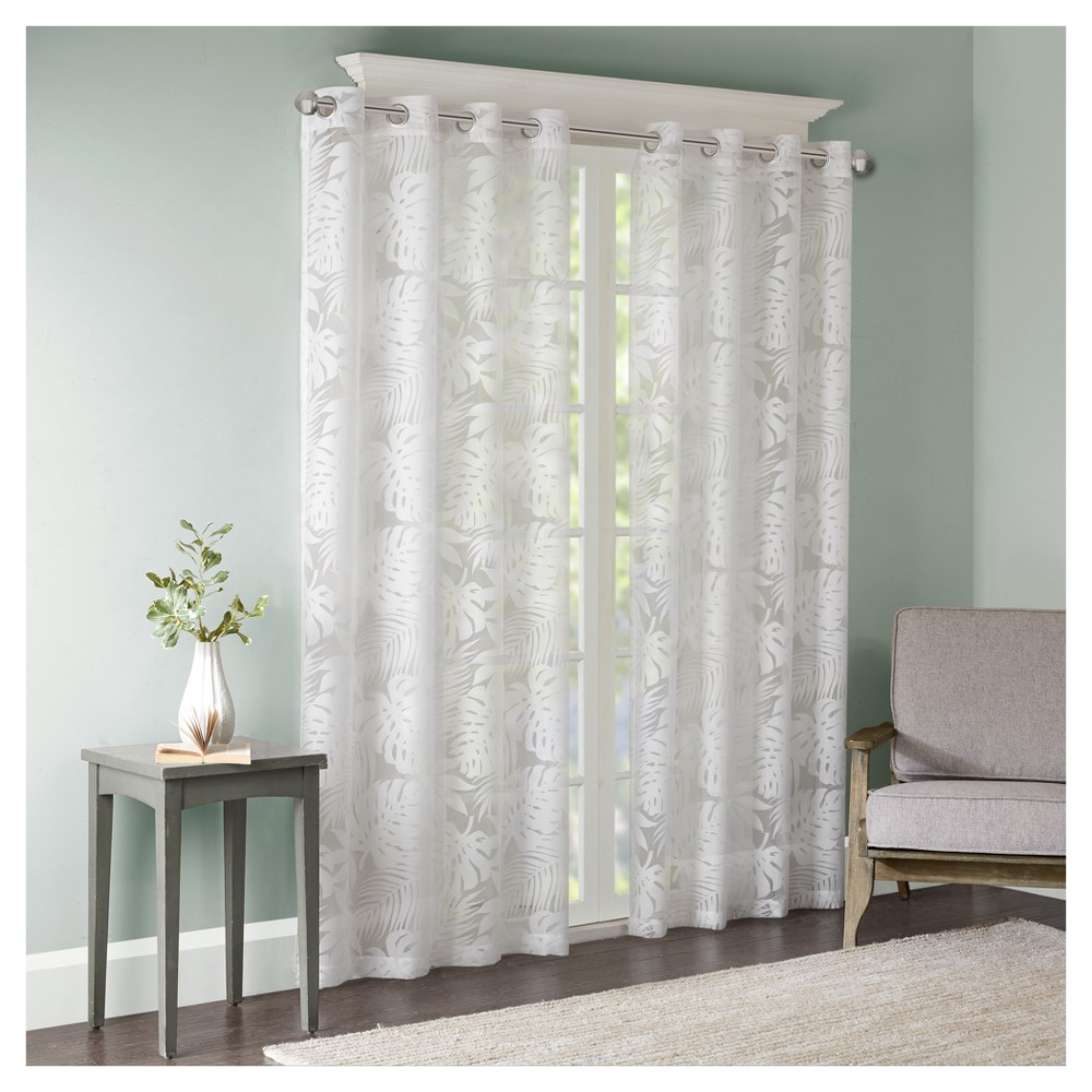 Maui Palm Leaf Burnout Window Sheer White (50